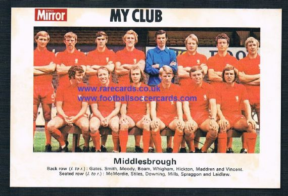 1970 My Club Daily Mirror postcard-size card Middlesbrough